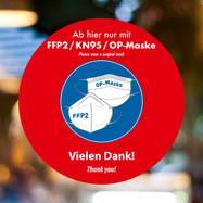 """Folie/sticker pentru fereastra """"FFP2 / KN95 / purtati masca"""