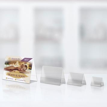 Display in forma de cort din PVC rezistent, formate standard