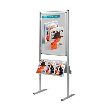 "Stand pentru postere ""Info"", profil de 32 mm, colturi rotunde, argintiu anodizat"